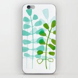 Aqua Green Leaves Watercolor iPhone Skin