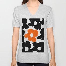 Large Orange and Black Retro Flowers White Background #decor #society6 #buyart Unisex V-Neck