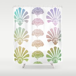 Ombre Art Deco pattern, palm tree pattern, metallic shine, pastel colors, vintage,belle epoque,elega Shower Curtain