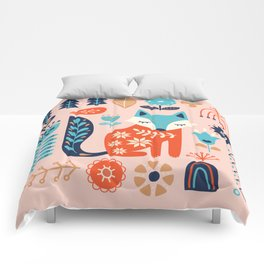 Soft And Sweet Scandinavian Fox Folk Art Comforters