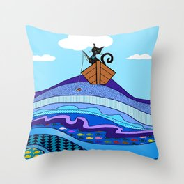 Cat  Fishing Throw Pillow