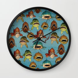 fishing with worms Wall Clock