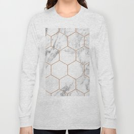 Rose gold marble hexagons honeycomb pattern Long Sleeve T-shirt