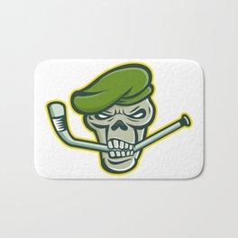 Green Beret Skull Ice Hockey Mascot Bath Mat