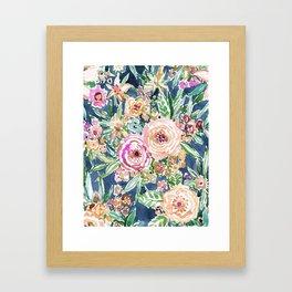 Navy MAUI MINDSET Colorful Tropical Floral Framed Art Print