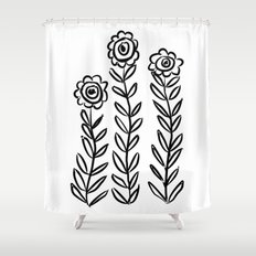 Flower Party in Black Shower Curtain