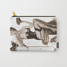 No You Don't by Gil Elvgren Sepia Pin Up Girl Carry-All Pouch