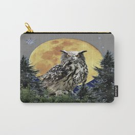 SURREAL NORTHERN OWL WITH SNOWFLAKES, FULL MOON ART Carry-All Pouch