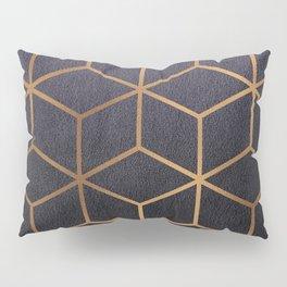 Dark Purple and Gold - Geometric Textured Gradient Cube Design Pillow Sham