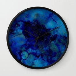 NEW Alcohol Ink Deep Blue Trip I Wall Clock
