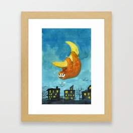 sloth moon night city Framed Art Print