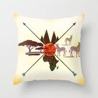 africa Throw Pillows featuring Africa by famenxt