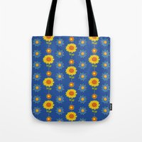 ukraine Tote Bags featuring Sunflowers of Ukraine by rusanovska