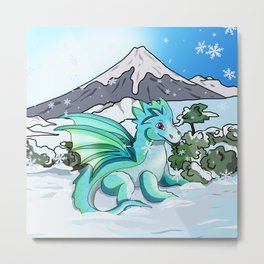 Cute baby dragon in the snow at Mount Fuji Metal Print