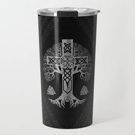 Tree of life  -Yggdrasil  and Celtic Cross Travel Mug