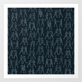 Round One STEEL BLUE / Vintage boxers Art Print