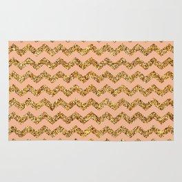 Deep Peach Gold Glitter Chevron Pattern Rug