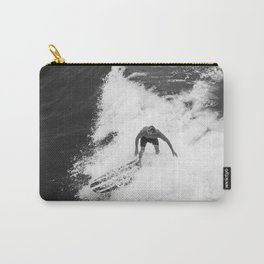 Black and White Wave Surfer Carry-All Pouch
