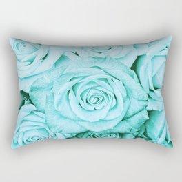 Turquoise roses -flower pattern - Vintage rose Rectangular Pillow