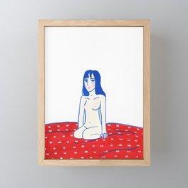 Blue hair Red sheets Framed Mini Art Print