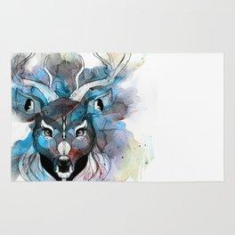 Deer- Blue Rug