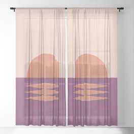 Sunset Geometric Pink Midcentury style Sheer Curtain