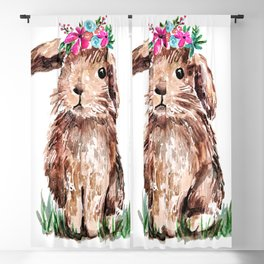Bunny with Flower Crown Blackout Curtain