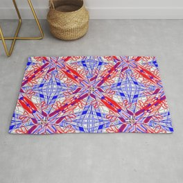 Tile #3 Blue & Red 4 Pointed Star on White Rug
