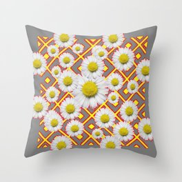 Shasta Daisies Red Pattern Art Grey abstract Throw Pillow