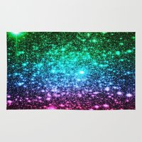glitter Area & Throw Rugs featuring glitter Cool Tone Ombre by 2sweet4words Designs