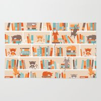library Area & Throw Rugs featuring Library cats by Heleen van Buul