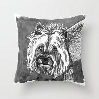yorkie Throw Pillows featuring yorkie by Jenn Steffey