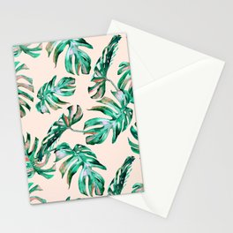 Tropical Palm Leaves Coral Greenery Stationery Cards
