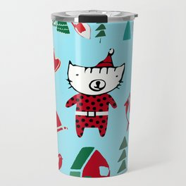 Cute Christmas cat blue Travel Mug