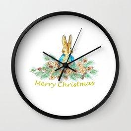 Peter Rabbit Christmas Wall Clock
