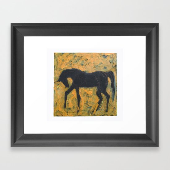 Shadow Horse on Yellow Framed Art Print