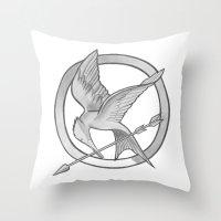 mockingjay Throw Pillows featuring Mockingjay Symbol by Vera