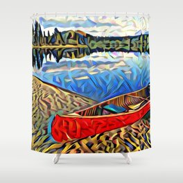 Red Canoe on Lake Tahoe Shower Curtain