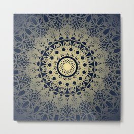 Mandala Flower Bohemia Navy and Cream Metal Print