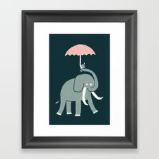 Elephant with umbrella Framed Art Print