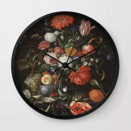 Jan Davidsz de Heem - Flower Still Life with a Bowl of Fruit and Oysters (c.1665) Wall Clock