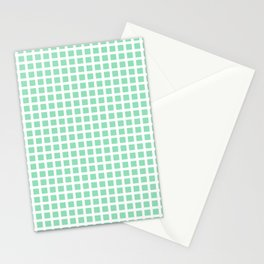 Grid Pattern 312 Mint Green Stationery Cards