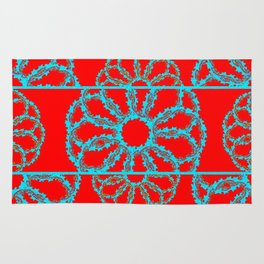 Turquoise & Red Overlapping Scalloped Links & Rings Rug