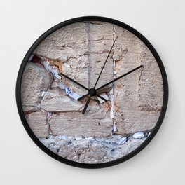 Israeli Jewish Kotel Wall Art Print - A piece of the Wailing Wall (Kotel) with many prayer notes - Fine Art Print - Jewish wall art deco Wall Clock
