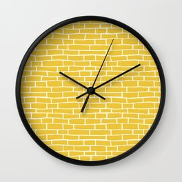 Brick Road - Yellow and white Wall Clock