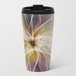 Floral Fantasy, Abstract Fractal Art Travel Mug