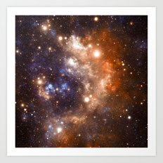 Galaxy Nebula Blue Copper Art Print