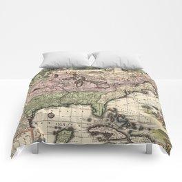 Vintage Map of America (1720) Comforters
