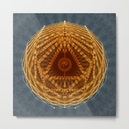 Mandala of Radiant Abundance (grey-gold) Metal Print