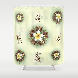 Plumeria Mandala Shower Curtain